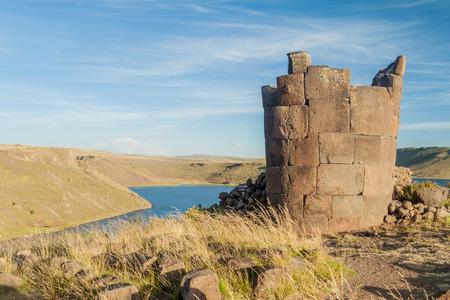 Ruins of funerary towers in Sillustani, Peru Stock Photo