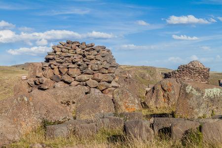 Funerary towers in Sillustani, Peru