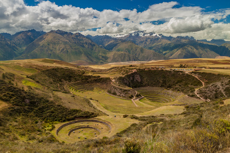 moray: Round agricultural terraces Moray made by Inca empire, Peru