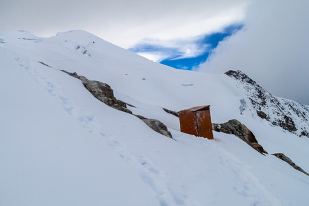 outhouse: Outhouse of a high camp of climbers under Huayna Potosi mountain in Bolivia Stock Photo