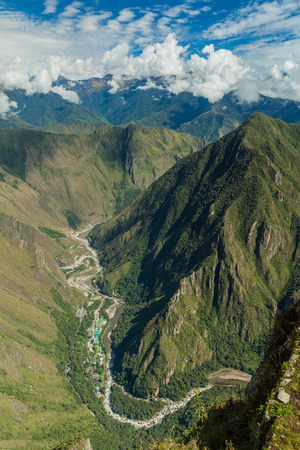 urubamba valley: Aerial view of Urubamba valley (with hydroelectric station) from Machu Picchu mountain, Peru Stock Photo