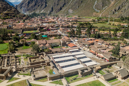 sacred valley of the incas: Aerial view of Ollantaytambo, Sacred Valley of Incas, Peru