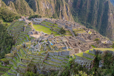 Aerial view of Machu Picchu ruins, Peru