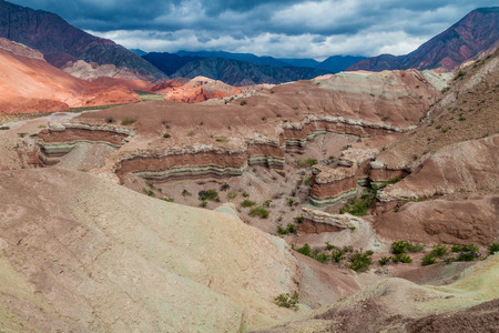 stratification: Colorful layered rock formations in Quebrada de Cafayate valley, Argentina. National park Quebrada de las Conchas. Stock Photo