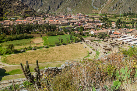 sacred valley of the incas: Aerial view of village Ollantaytambo, Sacred Valley of Incas, Peru Stock Photo