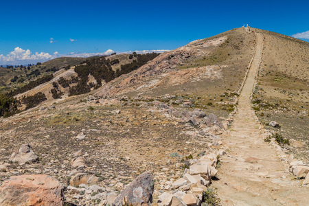 isla: Ancient Inca trail at Isla del Sol (Island of the Sun) in Titicaca lake, Bolivia