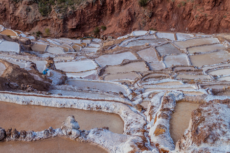 famous industries: Salt extraction pans (Salinas) in Sacred Valley of Incas, Peru Stock Photo