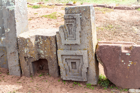 Precisely carved stone at Pumapunku ruins, Pre-Columbian archaeological site, Bolivia