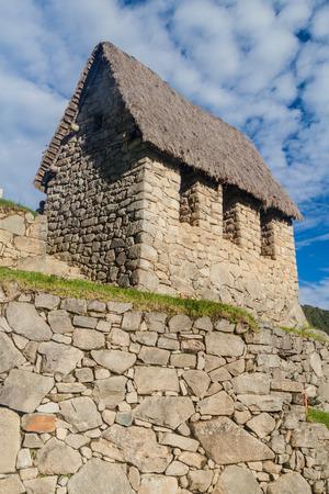 Building called guardhouse at Machu Picchu ruins, Peru