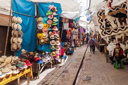 PISAC, PERU - MAY 22, 2015: Famous indigenous market in Pisac, Sacred Valley of Incas, Peru.