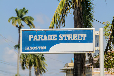 georgetown: Parade Street name sign in Georgetown, Guayana Stock Photo
