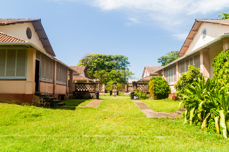 guard house: Buildings of former penal colony at Ile Royale, one of the islands of Iles du Salut (Islands of Salvation) in French Guiana Stock Photo