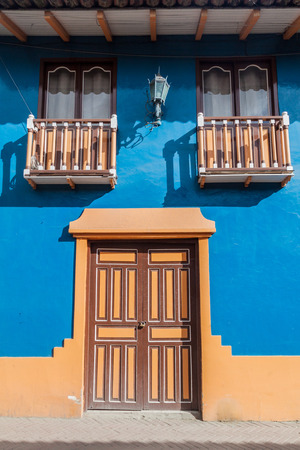 Colorful colonial house in Lourdes lane in Loja, Ecuador