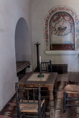 catholic nuns: AREQUIPA, PERU - MAY 30, 2015: Interior of a room in Santa Catalina monastery in Arequipa, Peru