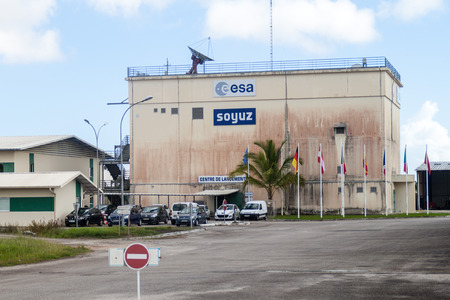soyuz: KOUROU, FRENCH GUIANA - AUGUST 4, 2015: One of buildings of Soyuz Launch Complex at Centre Spatial Guyanais (Guiana Space Centre) in Kourou, French Guiana