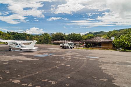 airstrip: CANAIMA, VENEZUELA - AUGUST 16, 2015: View of an airstrip in Canaima village, Venezuela