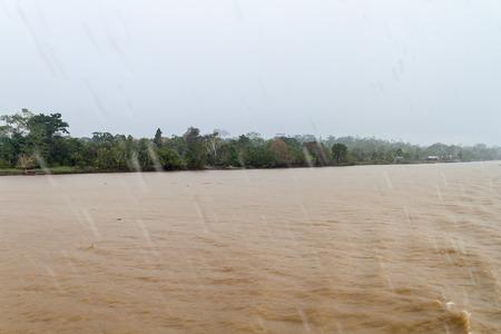 río amazonas: View of a rainy day on Amazon river in Brazil Foto de archivo