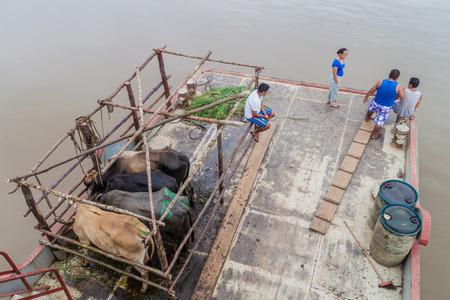 plies: NAPO, PERU - JULY 14, 2015: Cargo deck of a boat Arabela I which plies river Napo, Peru