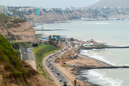 Cliffs above the ocean in Miraflores district of Lima, Peru. Stock Photo