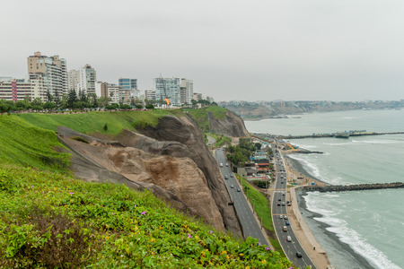 miraflores district: Cliffs above the ocean in Miraflores district of Lima, Peru. Stock Photo