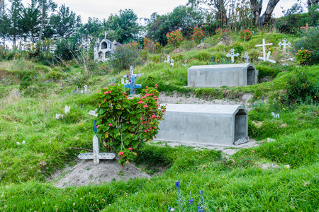 Rustic cemetery in Chugchilan village, Ecuador. This village lies on popular Quilotoa loop.