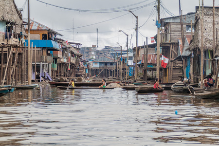 shantytown: IQUITOS, PERU - JULY 18, 2015: View of floating shantytown in Belen neigbohood of Iquitos, Peru.