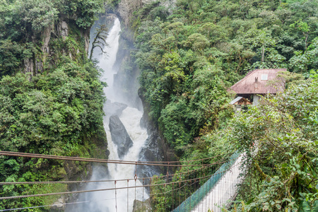 diablo: Pailon del Diablo (Devils Cauldron) waterfall near Banos town, Ecuador Stock Photo