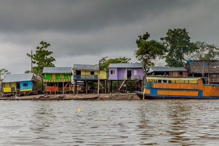 deprived: View of partially floating shantytown in Belen neigbohood of Iquitos, Peru. Stock Photo