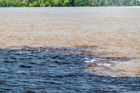 río amazonas: The Meeting of Waters (Encontro das Aguas) is the confluence between the Rio Negro river, with dark water, and lighter Amazon river or Rio Solimoes Foto de archivo