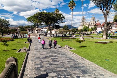 CAJAMARCA, PERU - JUNE 8, 2015: Plaza de Armas square with a cathedral in Cajamarca, Peru.