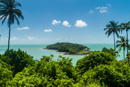 View of Ile du Diable (Devil's Island) from Ile Royale in archipelago of Iles du Salut (Islands of Salvation) in French Guiana Foto de archivo