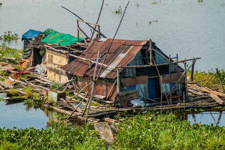 shantytown: One of poor houses of a shantytown in Iquitos, Peru. Stock Photo