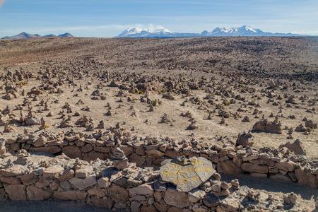 aguada: Volcanoes viewpoint in Reserva Nacional Salinas y Aguada Blanca reserve, Peru Stock Photo
