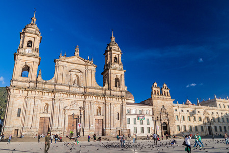 BOGOTA, COLOMBIA - SEPTEMBER 24, 2015: Cathedral on Bolivar square in the center of Bogota