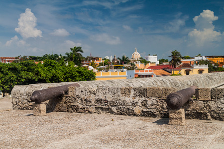 garrison: Cannons at the fortification walls of Cartagena, Colombia