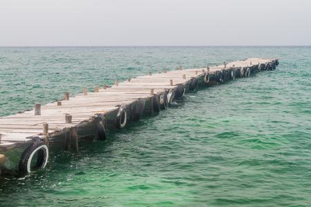archipelago: Wooden pier on Palma island of San Bernardo archipelago, Colombia