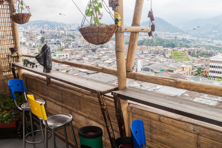mirador: MANIZALES, COLOMBIA - SEPTEMBER 5, 2015: View from the bar in Mirador Andino hostel. Editorial
