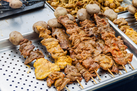 meat skewers: Meat skewers at a street stall in Popayan, Colombia