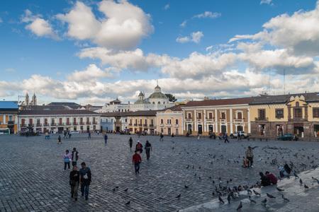 la compania: QUITO, ECUADOR - JUNE 23, 2015: Plaza San Francisco square and La Compania de Jesus church in old town of Quito, Ecuador