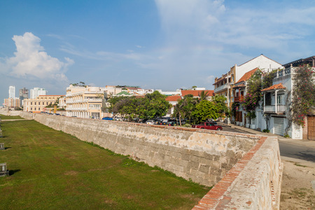 fortification: Fortification walls of Cartagena, Colombia Stock Photo