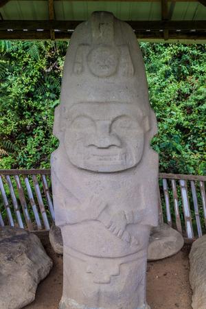 san agustin: Statue in a tomb in Alto de las Guacas archeological site near San Agustin, Colombia