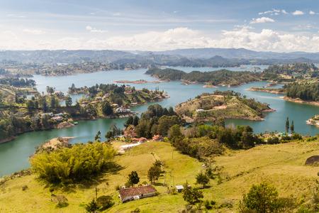 antioquia: Aerial view of Guatape (Penol) dam lake in Colombia