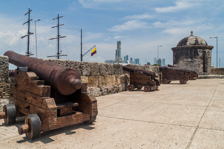 Cannons at the fortification walls of Cartagena, Colombia