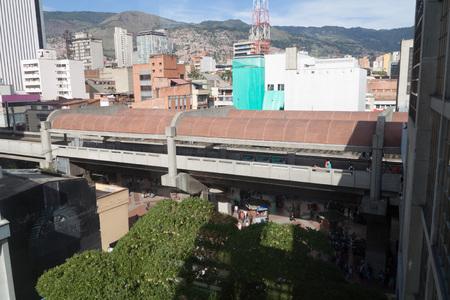 antioquia: MEDELLIN, COLOMBIA - SEPTEMBER 1, 2015: Elevated San Antonio station of Medellin metro. Editorial