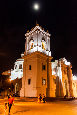 marta: SANTA MARTA, COLOMBIA - AUGUST 25, 2015: Cathedral of Santa Marta in th evening, with the moon.