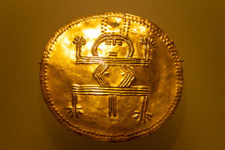 Golden plate in the Museum of Gold in Bogota, Colombia