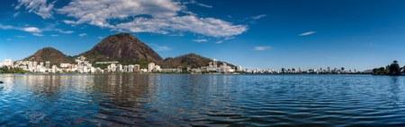 Lagoon Rodrigo de Freitas and Ipanema neighborhood skyline in Rio de Janeiro, Brazil Stock Photo