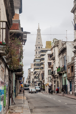 montevideo: MONTEVIDEO, URUGUAY - FEB 19, 2015: View of a street in the center of Montevideo. Editorial