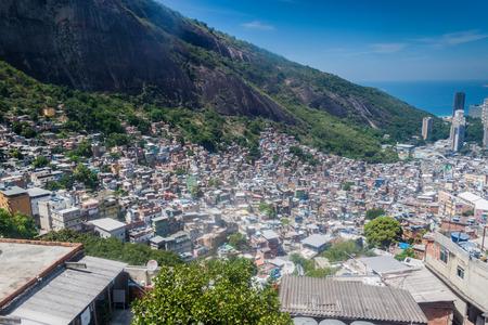 shantytown: Aerial view of favela Rocinha in Rio de Janeiro, Brazil