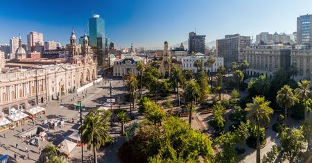 santiago: SANTIAGO, CHILE - MARCH 27, 2015: Plaza de las Armas square in Santiago, Chile